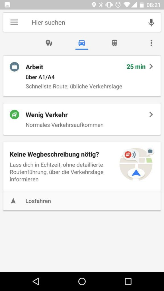 Google Maps Historie und Favoriten