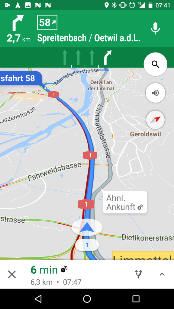 Google Maps Navigation Spurassistent