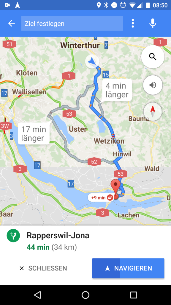 Google Maps Ziel Navigation starten