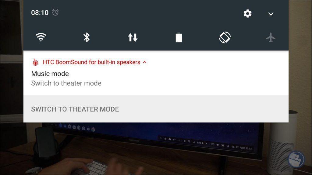 HTC BoomSound Switch Benachrichtigung