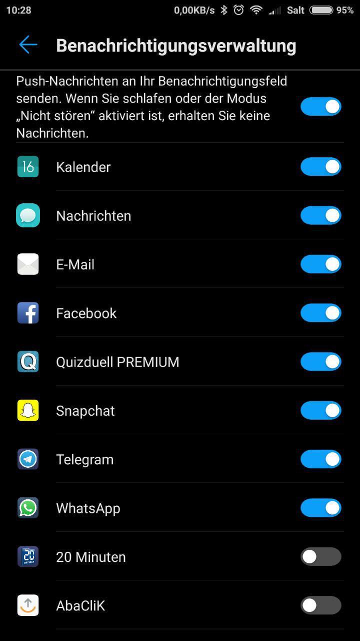Huawei Band 3 Benachrichtigungen Einstellungen