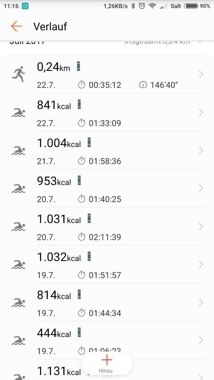 Trainingsverlauf Schwimmen Huawei Fit