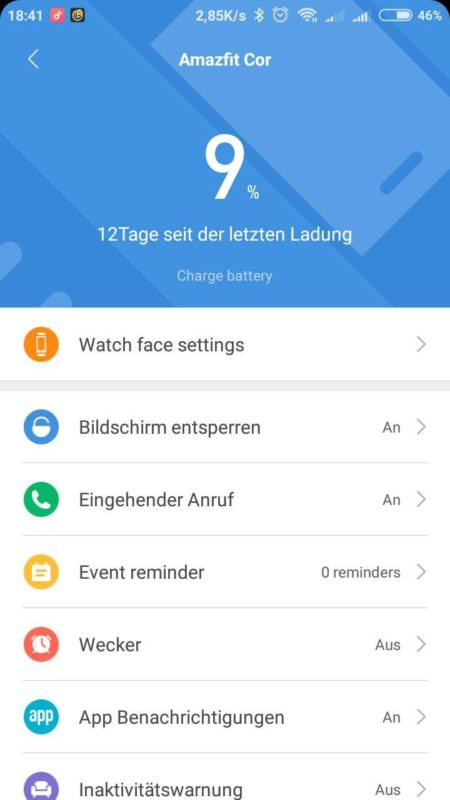 Amazfit Cor Akkulaufzeit Screenshot
